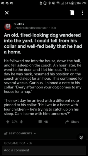 "Children, My House, and Best: G  {  11 61 %. 3:04 PM  r/Jokes  u/timetofeedthemonster 10h  An old, tired-looking dog wandered  into the yard. I could tell from his  collar and well-fed belly that he had  a home.  He followed me into the house, down the hall,  and fell asleep on the couch. An hour later, he  went to the door, and l let him out. The next  day he was back, resumed his position on the  couch and slept for an hour. This continued for  several weeks. Curious, I pinned a note to his  collar: ""Every afternoon your dog comes to my  house for a nap  The next day he arrived with a different note  pinned to his collar. He lives in a home with  four children -- he's trying to catch up on his  sleep. Can l come with him tomorroW  ー48  2.7k  Share  BEST COMMENTS  ILOVEAMERICA 5h  Add a comment Surprisingly Wholesome Joke"