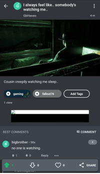 Best, Sleep, and Beetlejuicing: G  always feel like... somebody's  watching me..  GbHaseo  4 m  Cousin creepily watching me sleep..  gaming  fallout76  Add Tags  1 view  BEST COMMENTS  COMMENT  bigbrother 58s  no one is watching  0  Reply  0  0  SHARE He is watching!!!