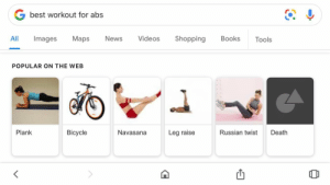 Books, News, and Shopping: G best workout for abs  Maps  Shopping  All  Images  News  Videos  Books  Tools  POPULAR ON THE WEB  Plank  Bicycle  Russian twist  Navasana  Leg raise  Death The best workout for abs