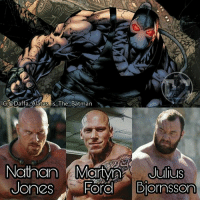 "My top 3 fancasts for Bane: Nathan Jones: 6'10"", 330lb. (Mad Max: Fury Road) Martyn Ford: 6'8"", 320lb. (Boyka) Hapthor Julius Bjronsson: 6'9"", 400lb. (Game of Thrones) Which actor would be great as Bane? Comment bellow!: G.@Daffa Alatas is The Batman  Nathan Martyn  Julius  Diornsson  ORO My top 3 fancasts for Bane: Nathan Jones: 6'10"", 330lb. (Mad Max: Fury Road) Martyn Ford: 6'8"", 320lb. (Boyka) Hapthor Julius Bjronsson: 6'9"", 400lb. (Game of Thrones) Which actor would be great as Bane? Comment bellow!"