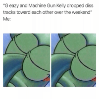 """Diss, G-Eazy, and Machine Gun Kelly: """"G eazy and Machine Gun Kelly dropped diss  tracks toward each other over the weekend""""  Me:  @ grapejuiceboy Y'all hear something??"""