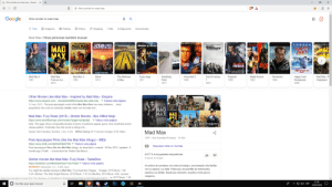 Uh, Google thinks Happy Feet is an apocalyptic movie?: G films similar to mad max - Buscar  X  X  C  G films similar to mad max  Google  films similar to mad max  Q Todo  Imágenes  D Videos  Noticias  Shopping  Más  Configuración  Herramientas  Mad Max/Otras personas también buscan  MEL GIBSON in  MADMAXSTOE  SP NE  INFIERNO AL VOLANT  MAD  MAX  HAPPY  FEET  MAD  MEL  GIBSON  MADNESS  ELANE  BAD  GUY  PAYBACK  MAD MAX 2  DescargateloCorp  TINA TURNER  TAKE THE TRIP  Happy Feet  Rompiendo.  2006  Mad Max:  Furia en la c...  Mad Max: Th  The Madness  Furia ciega  Vanishing  Arma letal 2  Payback  1999  Mad Max 2  Mad Max 3  Stone  Fast & Furious  Blade Runner  Terminator  1981  1985  1974  of Max  2011  1989  1982  1984  Point  7  Wasteland  2015  1971  2015  Other Movies Like Mad Max - Inspired by Mad Max - Esquire  Traducir esta página  https://www.esquire.com/.../movies/a34960/movies-like-mad-max...  13 may. 2015 -The post-apocalyptic world of the Mad Max films has many imitators.  burly  proportions who wore an extremely similar mask over his bald and  MAD  MAX MAD  O MAX  Mad Max: Fury Road (2015) - Similar Movies - Box Office Mojo  http://www.boxofficemojo.com/movies/?page-similar&id.. Traducir esta página  Más imágenes  Note: This page shows comparable movies in terms of audience appeal, genre, tone, timeframe and/or  release pattern. It indicates how this movie is doing in its  Mad Max  Genre: Sci-Fi Action: Runtime: 2 hrs. 0 min MPAA Rating: R: Production Budget: $150 million  1979- Cine dramático/Fantasía 1h 35m  Post Apocalypse Films (like the Mad Max trilogy) - IMDB  https://www.imdb.com/list/Is054665785/ Traducir esta página  Reproducir tráiler en YouTube  Post Apocalypse Films (like the Mad Max trilogy). by lunarvision | created 09 Dec 2013 updated 8  months ago | Public. a lunarvision list. Refine See titles to  Al 87 % le ha gustado esta película  Usuarios de Google  Similar movies like Mad Max: Fury Road - TasteDive  http://tastedive.com/like/Mad-Max-