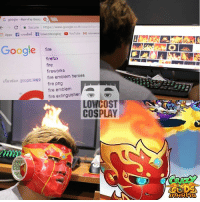 Dank, 🤖, and Logo: G google ihawndhu Goog  C Secure  https://www.google.co.th/searchtq  Apps f wruvene f Lowcostcosplay a YouTube M  Google  fire  firefox  fire  fireworks  tiad google logo fire emblem heroes  fire png  fire emblem  fire extinguisher  LOW COST  COSPLAY หัวร้อนก็เอามาลงที่เกมส์กันดีกว่า   Lonelyman playing with fire: http://m.onelink.me/cc785747