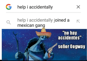 "hay: G help i accidentally  help i accidentally joined a  mexican gang  ""no hay.  accidentes""  señor Oogway"