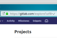 Emojis, Com, and Projects: G https://gitlab.com/explore?utf8-/  Activity Milestones Snippets  Projects