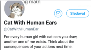 Another One, Girl, and Time: g matn  Sledovat  Cat With Human Ears  @CatWithHumanEar  For every human girl with cat ears you draw,  another one of me exists. Think about the  consequences of your actions next time.