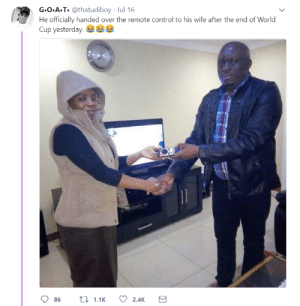 Dank, Life, and Memes: G.O.A.T. @thatudiboy-Jul 16  He officially handed over the remote control to his wife after the end of World  Cup yesterday. Happy wife Happy life by veertamizhan FOLLOW HERE 4 MORE MEMES.