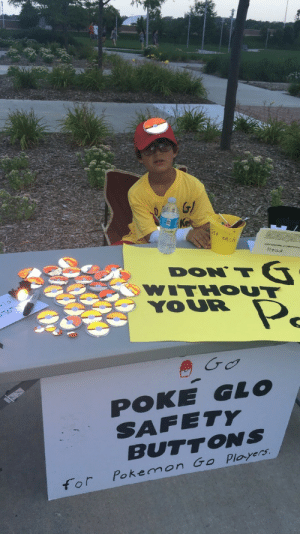 Cute, Pokemon, and Target: G/  s4 each  Red  WITHOUT  YOUR  POKE GLO  SAFETY  BUTTONS  for Pokemon Go Ployers weed-breath:  retrogamingblog:  This 7-year-old boy is making light-up Pokeball badges to keep kids safe while playing Pokemon Go in the dark. Check out his gofundme page here  This is so cute