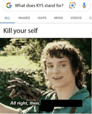 Kill Your: G  What does KYS stand for?  ALL  IMAGES  MAPS  NEWS  VIDEOS  S  Kill your self  All right, then.