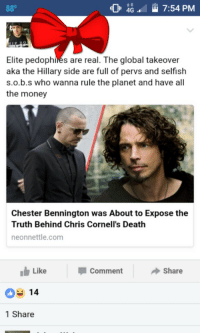 "Money, Pizza, and Tumblr: G7:54 PM  Elite  aka the Hillary side are full of pervs and selfish  s.o.b.s who wanna rule the planet and have all  the money  pedophiles are real. The global takeover  Chester Bennington was About to Expose the  Truth Behind Chris Cornell's Death  neonnettle.com  Like  Comment  Share  14  1 Share <p><a href=""http://memehumor.net/post/163309748038/chester-bennington-got-too-close-to-solving-pizza"" class=""tumblr_blog"">memehumor</a>:</p>  <blockquote><p>Chester Bennington got too close to solving pizza gate and had to go.</p></blockquote>"