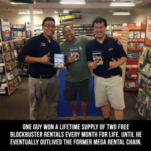 Grand Prize Winner!: GA  ONE GUY WON A LIFETIME SUPPLY OF TWO FREE  BLOCKBUSTER RENTALS EVERY MONTH FOR LIFE. UNTIL HE  EVENTUALLY OUTLIVED THE FORMER MEGA RENTAL CHAIN. Grand Prize Winner!