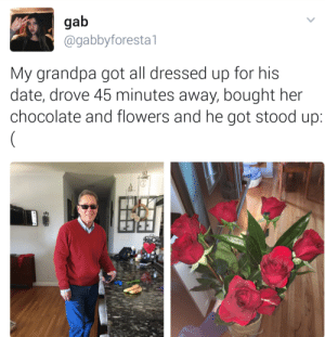 Twitter, Grandpa, and Black: gab  @gabbyforestal  My grandpa got all dressed up for his  date, drove 45 minutes away, bought her  chocolate and flowers and he got stood up When white twitter meets black twitter