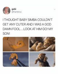 God, Relatable, and Thought: gabi  @harleivy  I THOUGHT BABY SIMBA COULDN'T  GET ANY CUTER AND I WAS A GOD  DAMN FOOL...LOOK AT HIM GO! MY  SON! can't wait to cry all over again next year!!