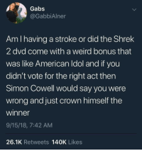American Idol, Shrek, and Weird: Gabs  @GabbiAlner  Am I having a stroke or did the Shrek  2 dvd come with a weird bonus that  was like American Idol and if you  didn't vote for the right act thern  Simon Cowell would say you were  wrong and just crown himself the  winner  9/15/18, 7:42 AM  26.1K Retweets 140K Likes I vaguely remember this