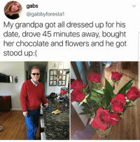 Being Alone, Memes, and Taken: gabs  @gabbyforesta1  My grandpa got all dressed up for his  date, drove 45 minutes away, bought  her chocolate and flowers and he got  stood up:( This is sad :- i cant believe she never showed up :- are you single, taken, crushing or forever alone?
