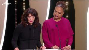 "Community, Target, and Tumblr: gael-garcia:  Asia Argento takes the stage at #Cannes2018 closing ceremony ""In 1997, I was raped by Harvey Weinstein here at Cannes. I was 21 years old. This festival was his hunting ground.  I want to make a prediction: Harvey Weinstein will never be welcomed here ever again. He will live in disgrace, shunned by a film community that once embraced him and covered up for his crimes.  And even tonight, sitting among you, there are those who still have to be held accountable for their conduct against women for behavior that does not belong in this industry — does not belong in any industry or workplace. You know who you are. But most importantly, we know who you are. And we're not going to allow you to get away with it any longer."" (transcript by Justin Chang)"