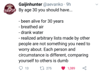 Alive, Dumb, and Twitter: Gaijinhunter @aevanko 9h  NE By age 30 you should have  CHU  been alive for 30 vears  - breathed air  - drank water  - realized arbitrary lists made by other  people are not something you need to  worry about. Each person and  circumstance is different, comparing  yourself to others is dumb  13  275  1,089 Sometimes twitter hosts a lot of wholesome content