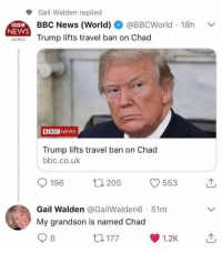 Funny, News, and Bbc News: Gail Walden replied  BBC News (World) @BBCWorld 18h  NEWS  WORLD Trump lifts travel ban on Chad  BBC NEWS  Trump lifts travel ban on Chad  bbc.co.uk  196 205 553 T  Gail Walden @GailWalden6 51m  My grandson is named Chad  8  ロ177  1.2K Thanks Gail.