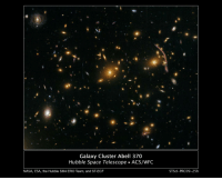 "Nasa, Tumblr, and Blog: Galaxy Cluster Abell 370  Hubble Space Telescope ACS/WFC  NASA, ESA, the Hubble SM4 ERO Team, and ST-ECF  STScl-PRC09-25h <p><a href=""http://pictures-of-space.tumblr.com/post/149390208425/gravitational-lensing-in-galaxy-cluster-abell-370"" class=""tumblr_blog"">pictures-of-space</a>:</p>  <blockquote><h2><a href=""https://www.flickr.com/photos/gsfc/3903388057/"">Gravitational Lensing in Galaxy Cluster Abell 370</a></h2><p>The Hubble Space Telescope's newly repaired Advanced Camera for Surveys (ACS) has peered nearly 5 billion light-years away to resolve intricate details in the galaxy cluster Abell 370.</p></blockquote>"