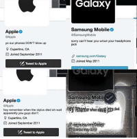 """<p>Apple vs Samsung via /r/memes <a href=""""http://ift.tt/2oA0PA3"""">http://ift.tt/2oA0PA3</a></p>: Galaxy  Samsung Mobile  @SamsungMobile  sorry can't hear you w/out your headphone  jack  Apple  @Apple  yo our phones DON'T blow up  Cupertino, CA  l Joined September 2011  samsung.com/Galaxy  EJoined May 2011  Tweet to Apple  Samsung Mob  @samsun Möbite  Apple  @Apple  hey remember when the stylus died oh wait  apparently you guys don't  Cupertino, CA  Joined September 2011  S samsung com/Galao  Joined May20  Tweet to Apple <p>Apple vs Samsung via /r/memes <a href=""""http://ift.tt/2oA0PA3"""">http://ift.tt/2oA0PA3</a></p>"""