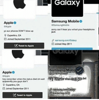 Apparently, Apple, and Memes: Galaxy  Samsung Mobileo  @SamsungMobile  sorry can't hear you w/out your headphone  Apple  @Apple  yo our phones DON'T blow up  9 Cupertino, CA  曲Joined September 2011  jack  θ samsung.com/Galaxy  Joined May 2011  A Tweet to Apple  Samsung Mob  Apple  @Apple  hey remember when the stylus died oh wait  apparently you guys don't  Cupertino, CA  曲Joined September 2011  samsung.com/Gal  臼doinedj lay 2011  Tweet to Apple 🔥🔥🔥