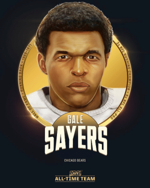 Gale Sayers is one of the 12 RBs selected to the #NFL100 All-Time Team!  🐻 1965 Rookie of the Year 🐻 1969 Comeback Player of the Year 🐻 2x Rushing Title Winner ('66, '69) 🐻 138.75 all-purpose yards per game (NFL record) https://t.co/hnDTziH9cV: GALE  GAYERS  CHICAGO BEARS  ALL-TIΜΕ ΤEAΜ  EL ALL-PRO  2x NFL RUSHING CHAMPION  HALL OF FAME RUNNING BACK 1965-1971 Gale Sayers is one of the 12 RBs selected to the #NFL100 All-Time Team!  🐻 1965 Rookie of the Year 🐻 1969 Comeback Player of the Year 🐻 2x Rushing Title Winner ('66, '69) 🐻 138.75 all-purpose yards per game (NFL record) https://t.co/hnDTziH9cV