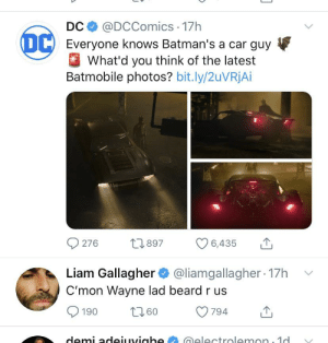 Gallagher clearly wants more facial hair in Matt Reeves Batman film: Gallagher clearly wants more facial hair in Matt Reeves Batman film