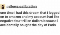 Amazon, Memes, and Paris: gallows-calibrating  one time I had this dream that I logged  on to amazon and my account had like  negative four trillion dollars becausei  accidentally bought the city of Paris accidentally? https://t.co/vTxeiETZ7m