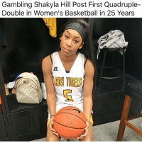 Basketball, Memes, and 25 Years: Gambling Shakyla Hill Post First Quadruple-  Double in Women's Basketball in 25 Years  809 TIGE  89
