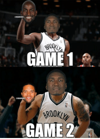 Nba, Roy Hibbert, and Kevin: GAME 1  ONBAMEMMES  GAME 2 Roy Hibbert has been changing his Brooklyn Nets mask from Kevin Garnett to Deron Williams! #NBAPlayoffs #BKNvsMIA