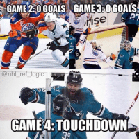 Do It Again, Fucking, and Goals: GAME 220 GOALS GAME 3ROGOALS  CAT  JIISe  @nhl ref logic  GAME TOUCHDOWN STEP ON THE FUCKING GAS SAN JOSE Now do it again in Edmonton!