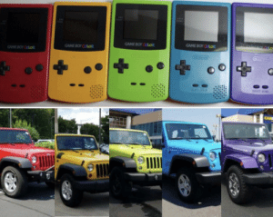 As an owner of a Jeep Wrangler and a Gameboy color I noticed something similar in their color schemes.: GAME BOY CoLo  GAME BOY COLOR  GAME BOY COLOR As an owner of a Jeep Wrangler and a Gameboy color I noticed something similar in their color schemes.