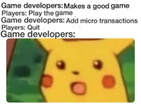 Instagram, The Game, and Tumblr: Game developers: Makes a good game  Players: Play the game  Game developers: Add micro transactions  Players: Quit  Game developers: melonmemes:  Follow us on instagram for the best content!: https://www.instagram.com/realmelonmemes