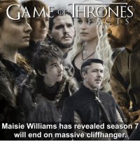 Hbo, Memes, and Arya: GAME HROONES  Maisie Williams has revealed season 7  will end on massive cliffhanger. I'm annoyed already!! What do you think the cliffhanger will be? First person who gets it 100% right in the comments will get a Hodor doorstop! Just remind me when it happens. • • gameofthrones got hbo gotseason7 maisiewilliams arya stark sansa jonsnow daenerystargaryen khaleesi tyrion littlefinger branstark