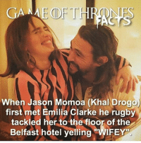 Memes, Emilia Clarke, and Khal Drogo: GAME OF THR  When Jason Momoa (Khal Drogo  first met Emilia Clarke he rugby  tackled her to the floor of the  Belfast hotel yelling  WIEEY jasonmomoa emiliaclarke khaldrogo daenerys daenerystargaryen gameofthronesfamily gameofthroneshbo got gameofthrones