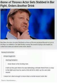 Sean Bean: Game of Thrones Actor Gets Stabbed in in Bar  Fight, Orders Another Drink  Sean Bean, the actor who plays Ned stark an Game ofThrones and played Boromir in Lord of  the Rings was stabbed in a bar fight Sunday evening. But instead of going to the hospital, he  walked back inside and ordered another drink. Badass!  itsea  remember:  whisperingghosts:  stardogchampion  Sean Bean is the fucking man.  lt left out the part where he was defending a female friend from a creep  in the fight and how he used a first aid kit to stitch up his own stab  wound  i mean he's died enough to know what a mortal wound looks like  Source: theunknownco.