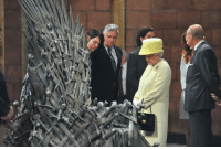 Game of Thrones Memes Queen Elizabeth visiting the Iron Throne and the GoT cast.  Who knows, she might be giving Tommen, Stannis, and Daenerys a run for their money!: Game of Thrones Memes Queen Elizabeth visiting the Iron Throne and the GoT cast.  Who knows, she might be giving Tommen, Stannis, and Daenerys a run for their money!