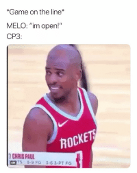 "Going to be interesting to watch 🤔😂 nba nbamemes houstonrockets melo (Via World_Wide_Wob-Twitter): *Game on the line  MELO: ""im open!""  CP3:  ROCKE  HIS PU35-6 3.PT FO  GIFT  TS 5-9 FG 3-63-PT FG Going to be interesting to watch 🤔😂 nba nbamemes houstonrockets melo (Via World_Wide_Wob-Twitter)"