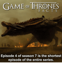 With all the action I didn't notice 😯 • • What did you think of the episode? Scroll to avoid spoilers 🚨 - gameofthrones gameofthronesfamily gameofthronesseason7 drogon daenerystargaryen khaleesi facts tv gameofthronesfacts hbo jaimelannister cerseilannister jonsnow: GAME or THRONES  F A C T S  Episode 4 of season 7 is the shortest  episode of the entire series With all the action I didn't notice 😯 • • What did you think of the episode? Scroll to avoid spoilers 🚨 - gameofthrones gameofthronesfamily gameofthronesseason7 drogon daenerystargaryen khaleesi facts tv gameofthronesfacts hbo jaimelannister cerseilannister jonsnow