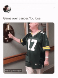"Cancer, Game, and Glorious: Game over, cancer. You lose.  17  0:04 916K views <p>Glorious victory via /r/wholesomememes <a href=""https://ift.tt/2wxiMs0"">https://ift.tt/2wxiMs0</a></p>"