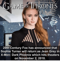 While not strictly GoT, @sophiet being in the title role for another huge franchise could cause scheduling conflicts. She is also starring in a rom-com with @asabopp which leaves her with little time on her plate. • • What do you think of the X-Men series? - - sophieturner got hbo gameofthrones xmen darkphoenix jeangrey xmenmovie xmendarkphoenix sansastark sansa gameofthronesfamily: GAME THRONES  20th Century Fox has announced that  Sophie Turner will return as Jean Grey in  X-Men: Dark Phoenix which hits theaters  on November 2, 2018. While not strictly GoT, @sophiet being in the title role for another huge franchise could cause scheduling conflicts. She is also starring in a rom-com with @asabopp which leaves her with little time on her plate. • • What do you think of the X-Men series? - - sophieturner got hbo gameofthrones xmen darkphoenix jeangrey xmenmovie xmendarkphoenix sansastark sansa gameofthronesfamily