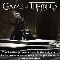 Joffrey did a bit of redecorating when he became king but nothing major. A lot of other sets are changed around and reused for other purposes. • • What's your favourite set? - - gameofthrones gameofthronesseason6 hbo ironthrone facts tv got kingslanding westeros joffrey jonsnow kingrobert nedstark tommenbaratheon cerseilannister: GAME THRONES  @GIMEORTHRONESFACTS  INSTAGRA  The Red Keep throne room is the only set in  Belfast to have remained unchanged since the  start of the show. Joffrey did a bit of redecorating when he became king but nothing major. A lot of other sets are changed around and reused for other purposes. • • What's your favourite set? - - gameofthrones gameofthronesseason6 hbo ironthrone facts tv got kingslanding westeros joffrey jonsnow kingrobert nedstark tommenbaratheon cerseilannister