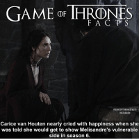 Facts, Hbo, and Instagram: GAME THRONS  F A C T S  @GAMEOFTHRONESFACTS  INSTAGRAM  Carice van Houten nearly cried with happiness when she  was told she would get to show Melisandre's vulnerable  side in season 6. Season 6 Melisandre almost seemed like a different person 🔥 • • What role do you think she will play this season? - gameofthroneshbo gameofthronesseason7 gameofthronesfamily gameofthrones melisandre caricevanhouten facts tv hbo
