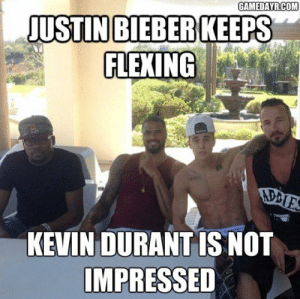 Funny, Justin Bieber, and Kevin Durant: GAMEDAYRCOM  JUSTIN BIEBER KEEPS  FLEXING  AD  KEVIN DURANT IS NOT  IMPRESSED Funny Meme About Justin Bieber