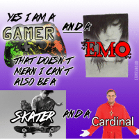 Emo, Mean, and Cardinal: GAMER  ANDA  EMO  HAT DDESNT  MEAN 1 CANT  ALSO BEA  SKATER Cardinal  AMDA