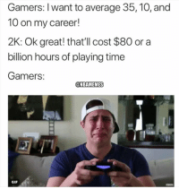Gif, Nba, and Time: Gamers: I want to average 35, 10, and  10 on my career!  2K: Ok great! that'll cost $80 or a  billion hours of playing time  Gamers  GIF Poor 2K players...