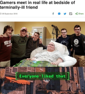 I'm not crying, you're crying via /r/memes https://ift.tt/2TpG7DU: Gamers meet in real life at bedside of  terminally-ill friend  O 29 September 2018  f  Share  MOUS  DAN  HB  UNIVEST  Everyone 1iked that I'm not crying, you're crying via /r/memes https://ift.tt/2TpG7DU