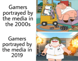 Lol: Gamers  portrayed by  the media in  the 2000s  Gamers  portrayed by  the media in  2019 Lol