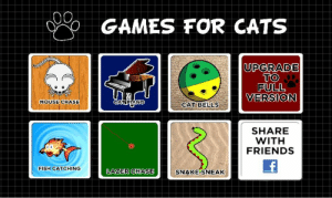 meme-mage:    Games for Cats   Games for cats is made to be played by your cat or kitten.Android app iTunes : GAMES FOR CATS  UPGRADE  TO  FULL  VERSION  MOUSE CHASE  CATPIANO  CAT BELLS  SHARE  WITH  FRIENDS  FISH CATCHING  LAZER CHASE  SNAKE-SNEAK meme-mage:    Games for Cats   Games for cats is made to be played by your cat or kitten.Android app iTunes