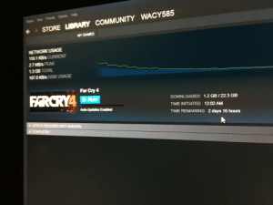 Why does my life suck?: Games Hep  Ston A  STORE LIBRARY COMMUNITY WACY585  MY GAMES  NETWORK USAGE  119.1KBS CURRENT  27 MB's PEAK  13G8 TOTAL  1070 KBs DISK USAGE  Far Cry 4  FARCRYA  PLAY  DOWNLOADED 1.2 GB/22.3 GB  TIME INITIATED 12:02 AM  Auto-Updates Enabled  TIME REMAINING 2 days 16 hours  +UPDATE REQUIRED NOT QUEUED)  + COMPLETED Why does my life suck?